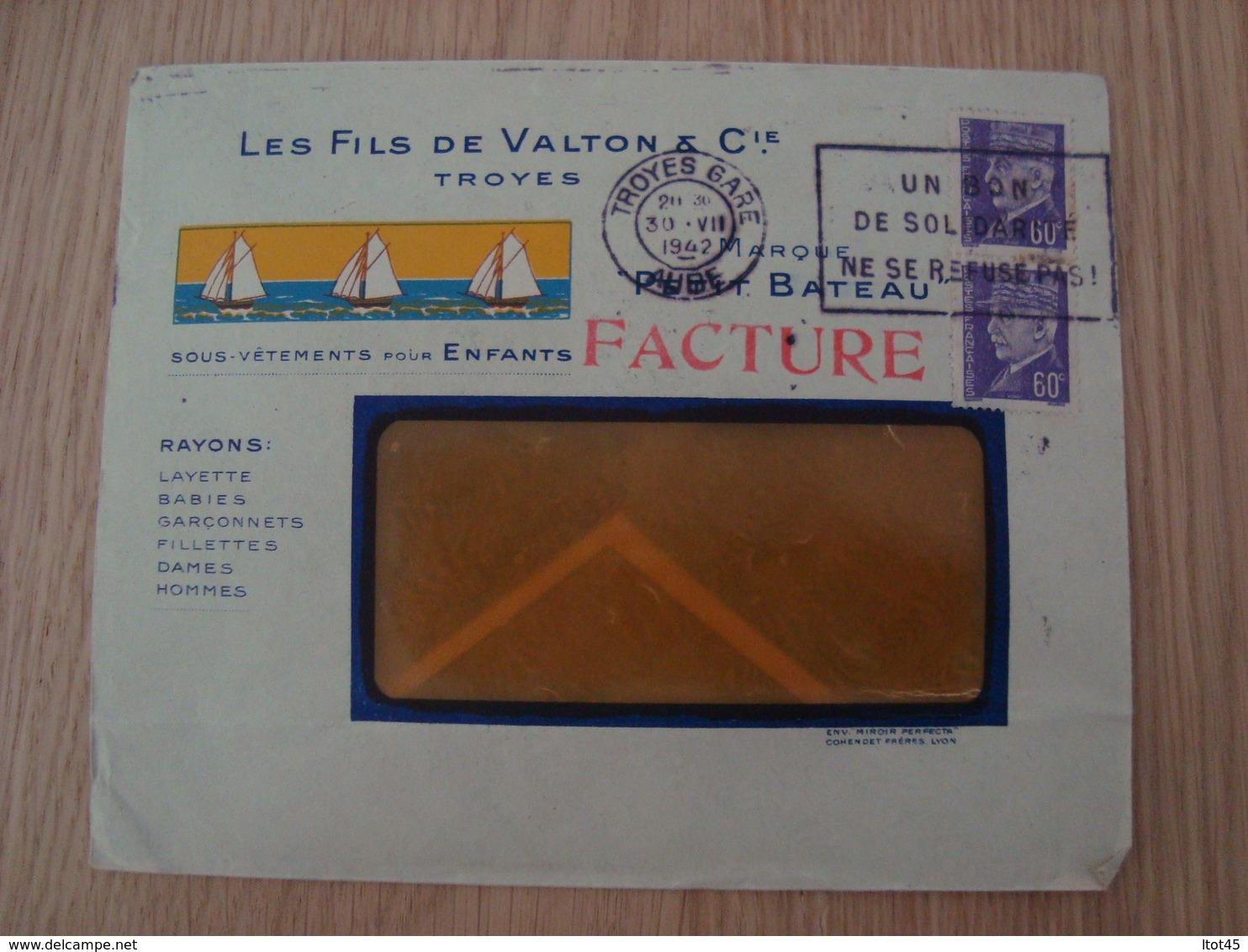 ENVELOPPE LES FILS DE VALTON & Cie TROYES PETIT BATEAU 1942 - Marcofilie (Brieven)