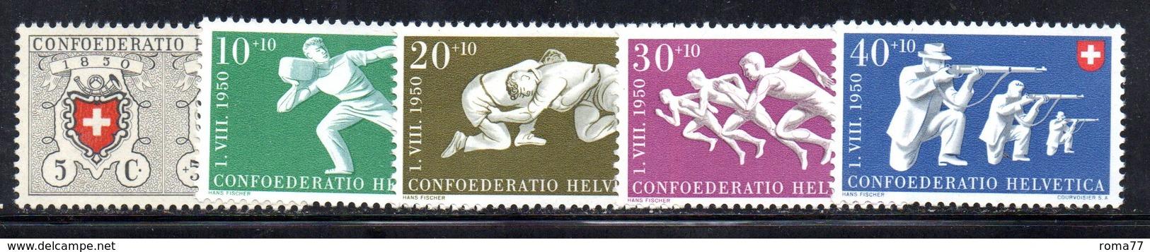 300/1500 - SVIZZERA 1950 , Unificato N. 497/501  ***  MNH  Pro Patria - Nuovi