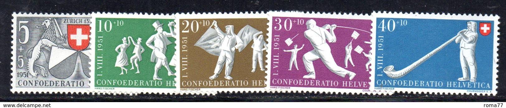 299/1500 - SVIZZERA 1951 , Unificato N. 507/511  ***  MNH  Pro Patria - Nuovi