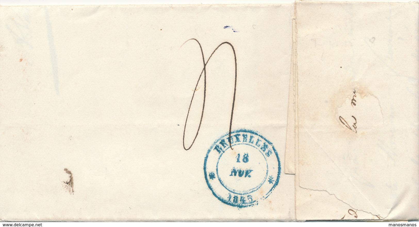 369/27 - Lettre Précurseur BEAUMONT 1845 à Comm. Arrond. De THUIN à Bruxelles  - TB Texte 2 Pages Sur Echevin D' ERPION - 1830-1849 (Belgique Indépendante)