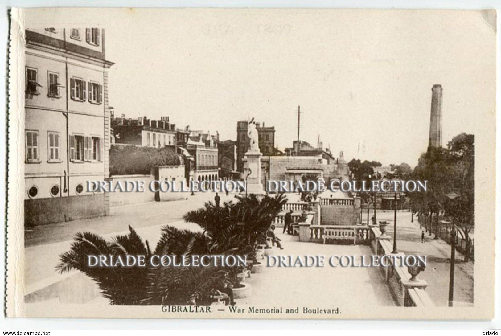 CARTOLINA GIBILTERRA WAR MEMORIAL AND BOULEVARD GIBRALTAR - Gibilterra