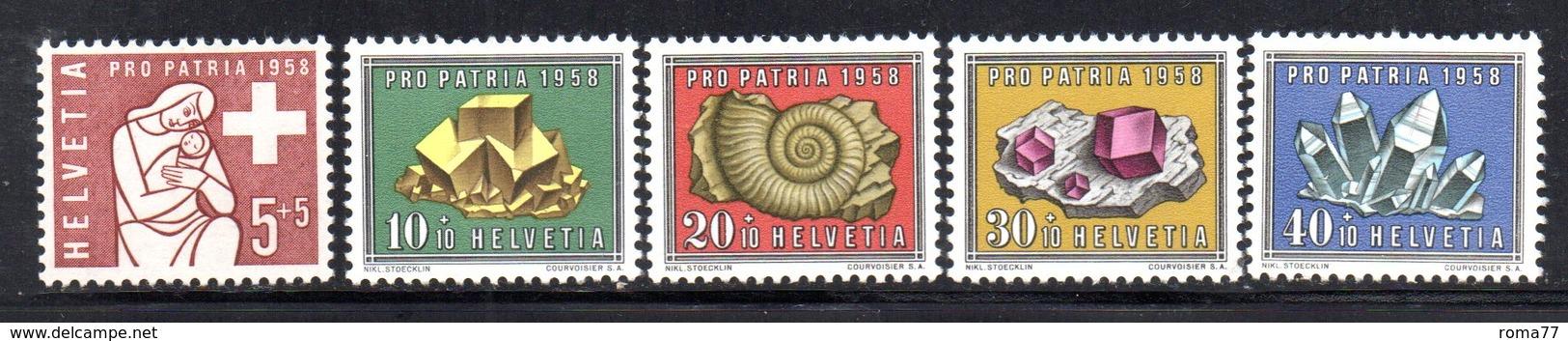 302/1500 - SVIZZERA 1958 , Unificato N. 606/610  ***  MNH  Pro Patria - Pro Patria