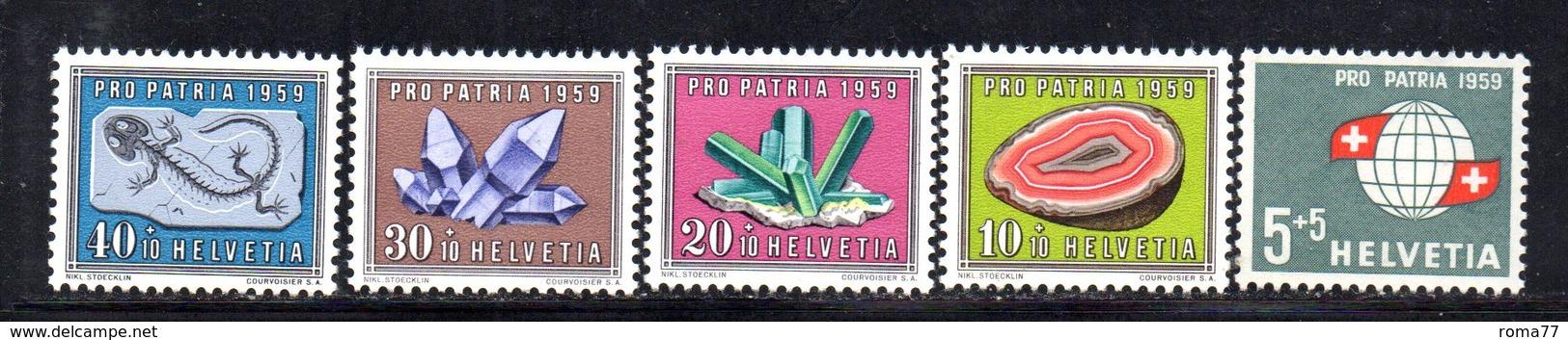 306/1500 - SVIZZERA 1959 , Unificato N. 625/629  ***  MNH  Pro Patria - Pro Patria