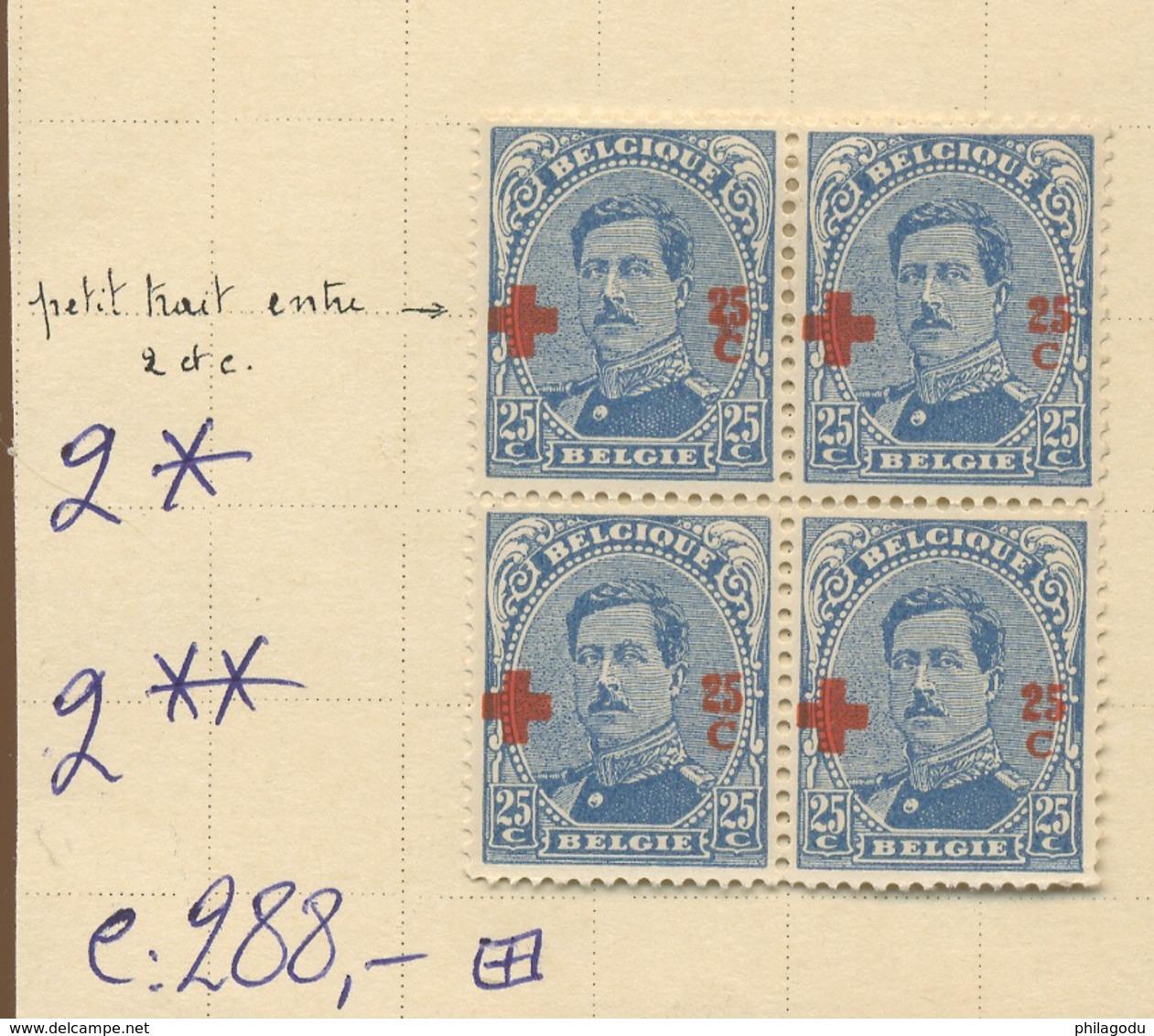 156 25c  Variété Dans La Surcharge.  Bloc De 4. ++/+.   Cote 288,-comme Normaux - 1918 Red Cross
