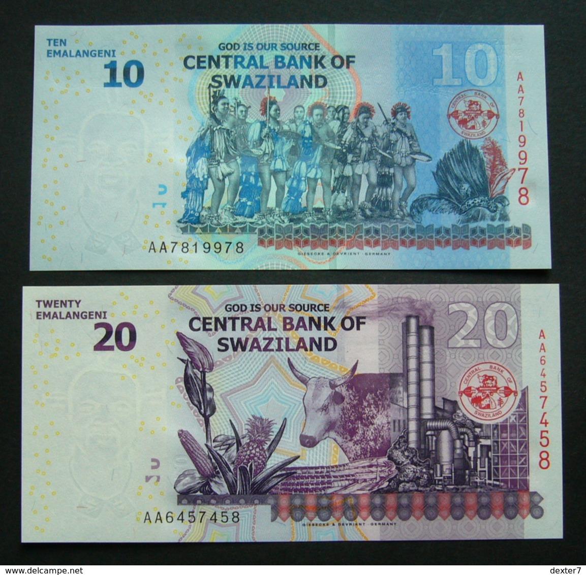 Swaziland 10 E 20 Emalangeni 2010 UNC 2x Pcs Set AA Series - Swaziland
