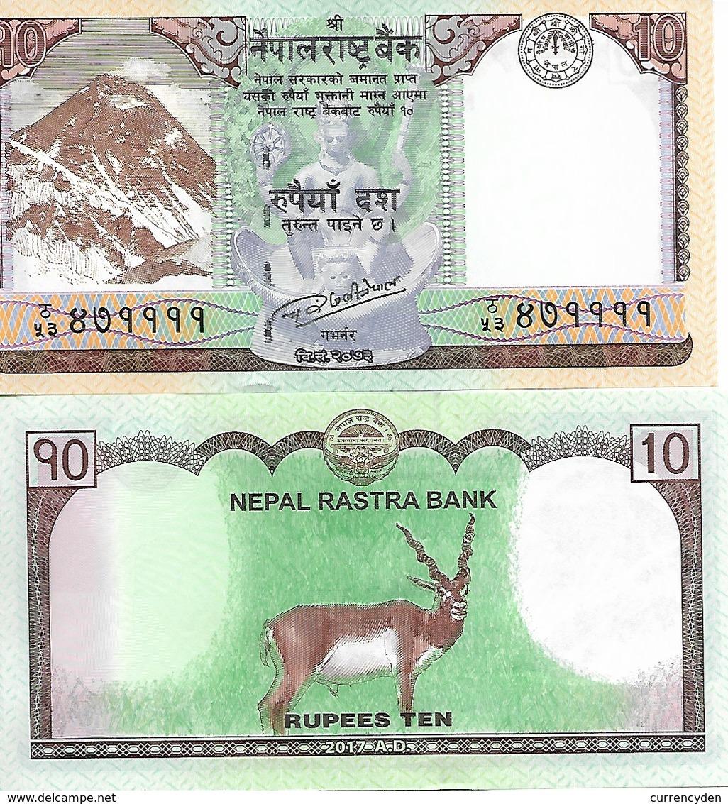 Nepal P77, 10 Rupee, Mt Everest, Temple, Coin / Black Buck, 2017, UNC See UV - Nepal