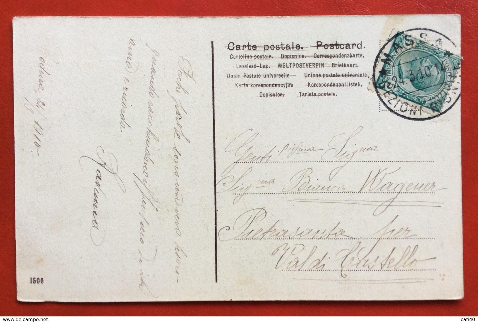 CARRARA GIARDINO PUBBLICO MONUMENTO PELLEGRINO ROSSI  E SCUOLE MASCHILI  NEL 1910 - Carrara