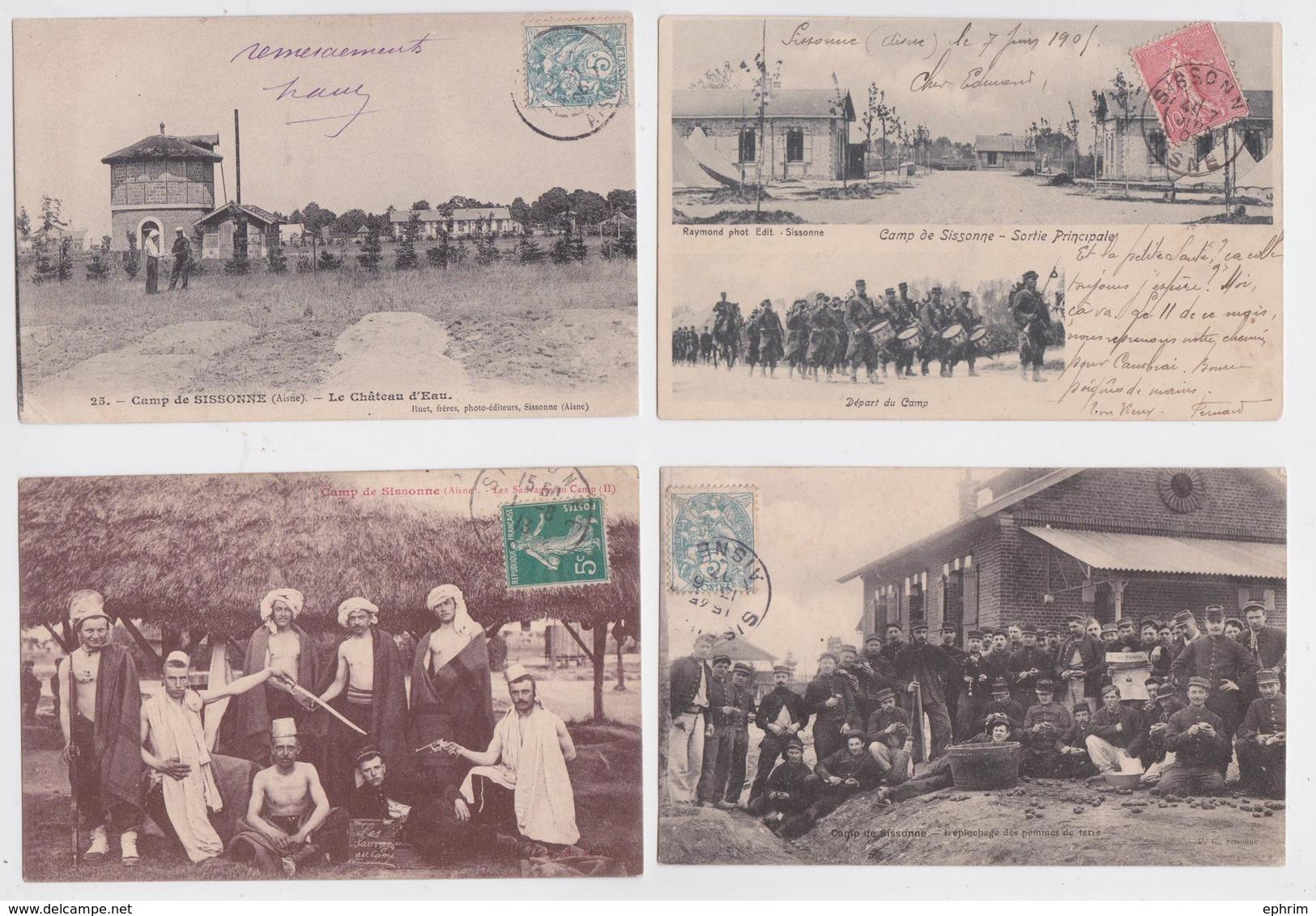 SISSONNE (Aisne) - Lot Varié De 120 Cartes Postales Anciennes Petit Format - Militaria - Vie Militaire - Camp - Sissonne