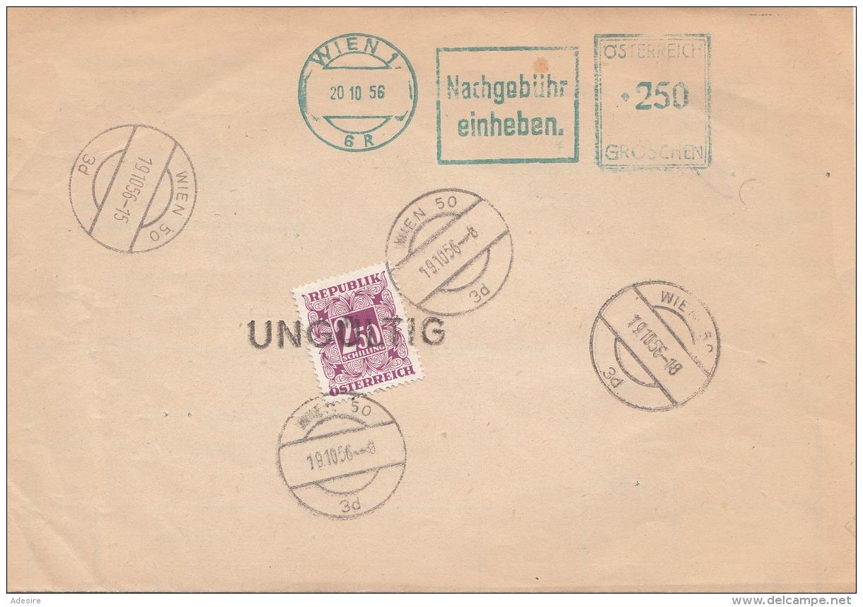 ÖSTERREICH NACHPORTO 1956 - 2,5 S Nachportofrankierung + Viele Stempel Auf Rsb-Brief, Gel.n.Wien - Portomarken