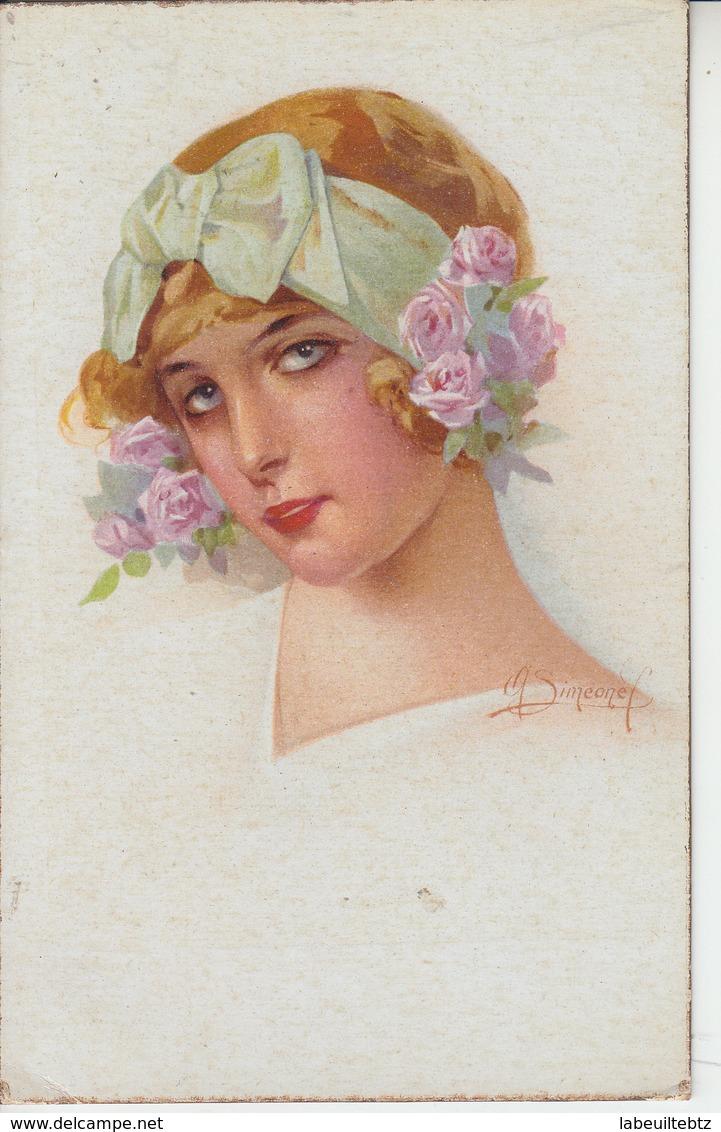 Portrat Jeune Femme Ruban Fleurs - Illustrateur Siméone ( Italie )  PRIX FIXE - Illustratori & Fotografie
