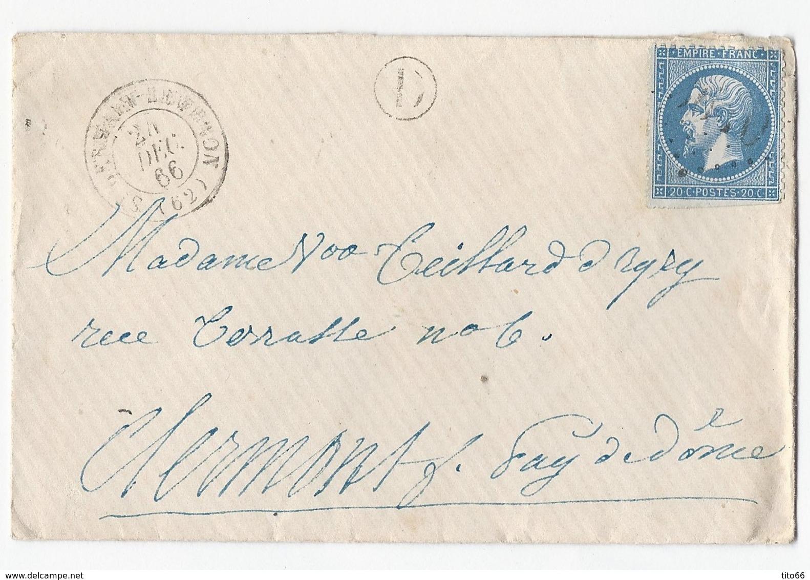 N°21 Sur Enveloppe De St Germain Lembron Vers Clermont 24/12/1866 Marque Rurale D - Marcophilie (Lettres)