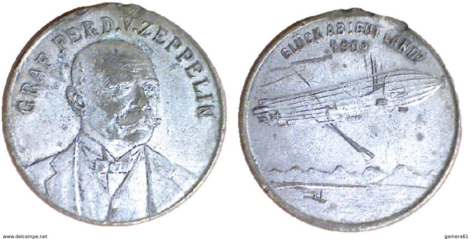 05063 MEDAGLIA MEDAL AE-Medaille 1908, Graf Zeppelin, Glück Ab, Gut Land! Medal Without Hanger - Allemagne