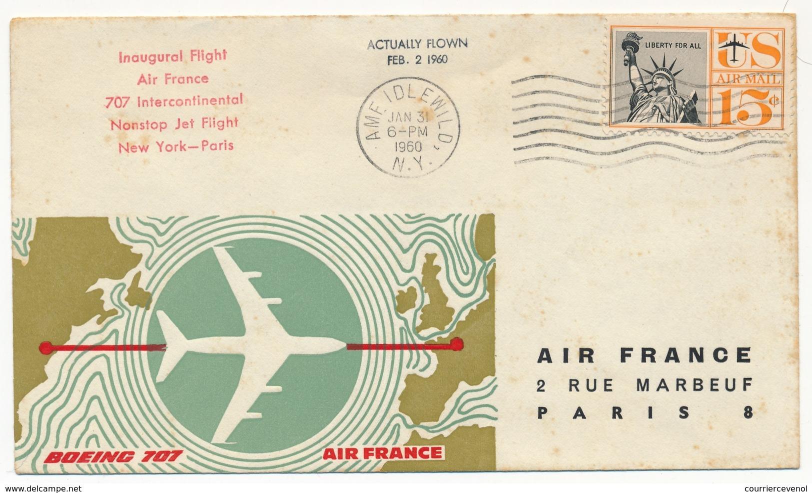 FRANCE /ETATS UNIS - Première Liaison AIR FRANCE 707 Intercontinental NEW-YORK PARIS Et Retour 31.1.1960 - First Flight Covers
