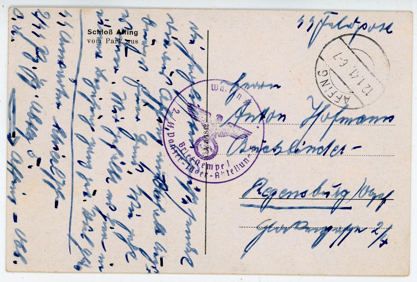 Schloß Affing - SS Feldpostkarte 2. SS Panzer-Jäger Abteilung Nach Regensburg - Sonstige