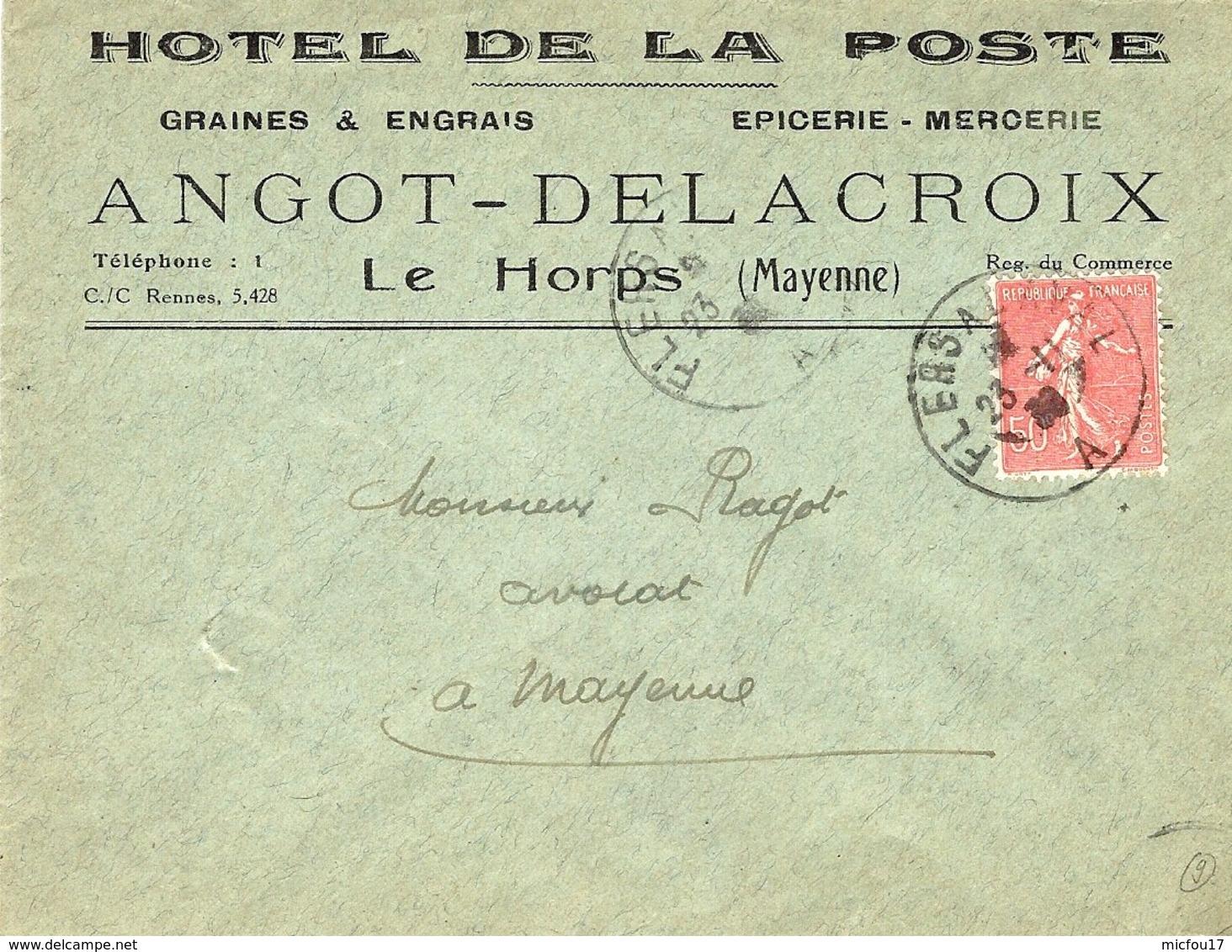 1930 - Lettre De Le Horps ( Mayenne) Affr. 50 C Semeuse Oblit. Amb. Type III Nuit  FLERS A LAVAL - Railway Post