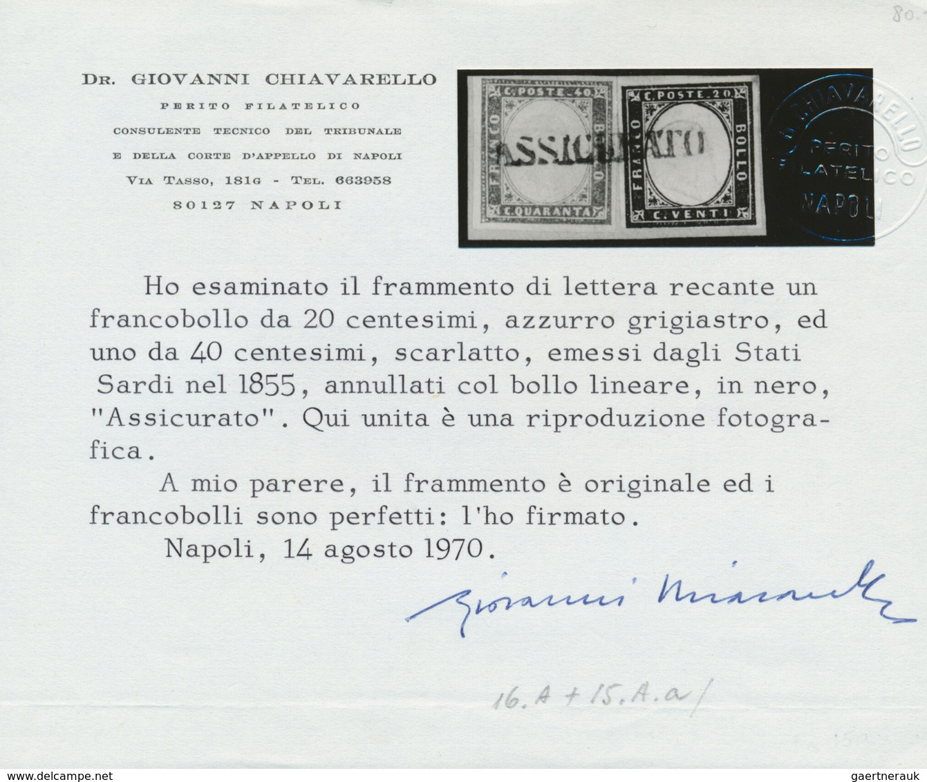 Italien - Altitalienische Staaten: Sardinien: 1855, 20c. Blue And 40c. Red, Fresh Colours, Mainly Fu - Sardinia
