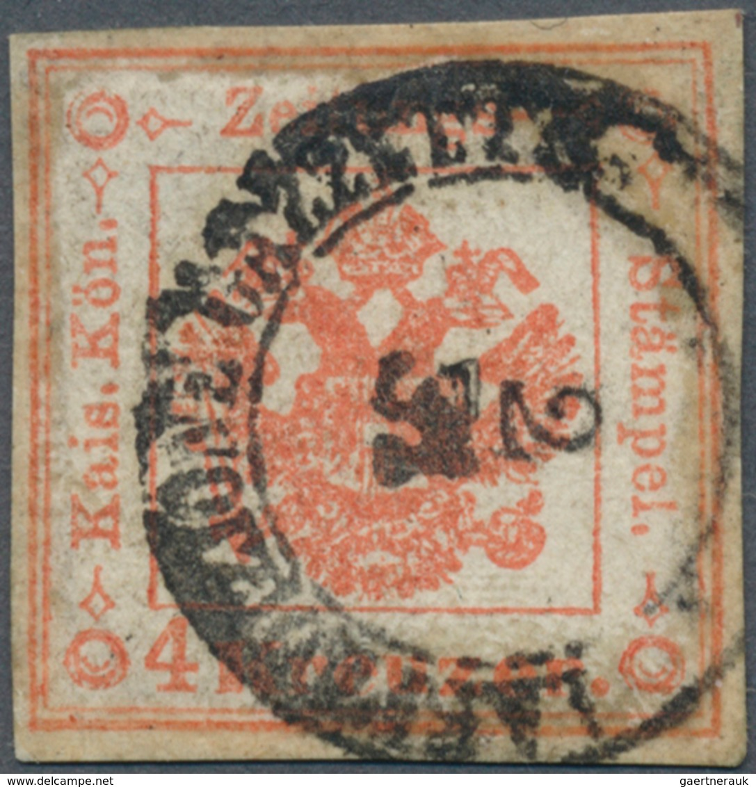 Österreich - Lombardei Und Venetien - Zeitungsstempelmarken: 1858, 4 Kreuzer Rot, Gestempelt I.R.SPE - Lombardy-Venetia