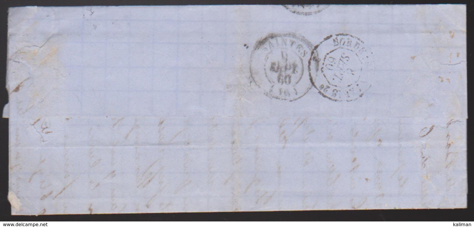 France - LaC N° 14 Obl. 1860 Losange PC 441 Pour Saintes - 1849-1876: Classic Period
