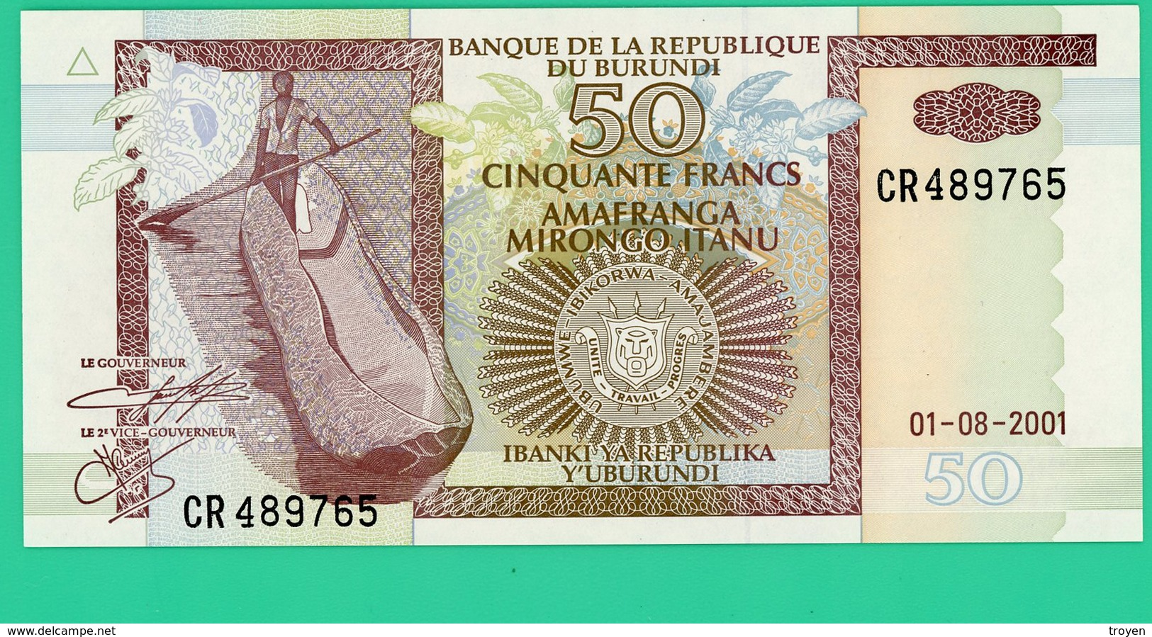 50 Francs - Burundi - 2001 - N° CR 489765 -  Neuf - - Burundi