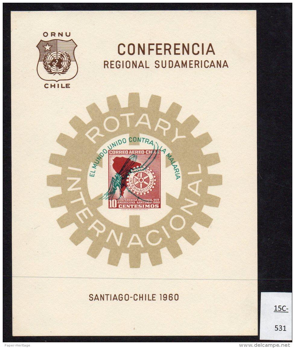 Chile 1962 Rotary M/s Optd For Anti-Malaria Mundo Contra La Malaria. - Chile