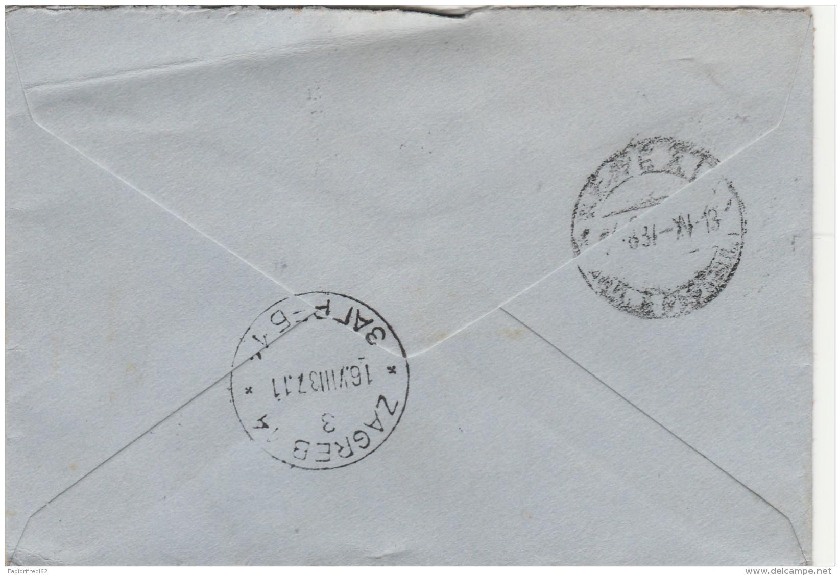 LETTERA 1937 DA JUGOSLAVIA PER ITALIA TIMBRO ZAGREB (Z1755 - 1931-1941 Regno Di Jugoslavia