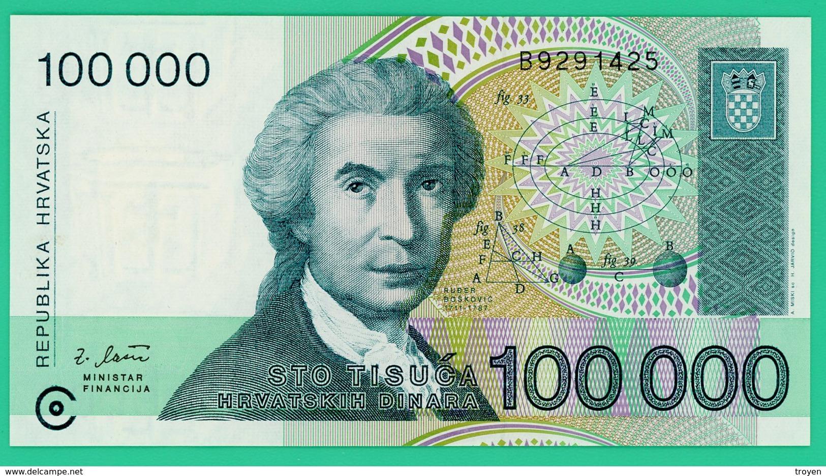 100 000 Dinar - Croatie - 1993 - N° B9291425 - Neuf - - Croatie