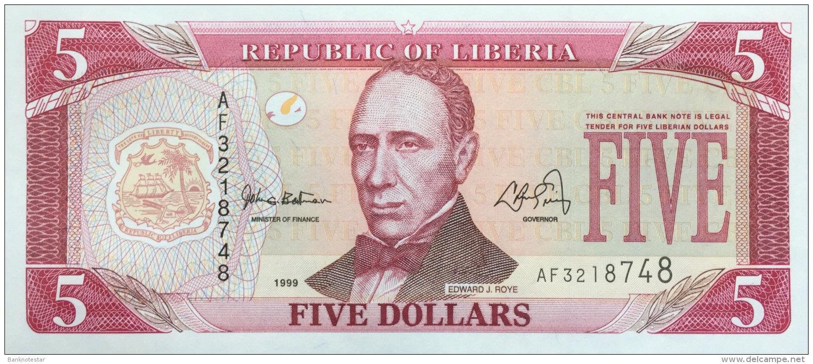 Liberia 5 Dollars, P-21 (1999) UNC - Liberia