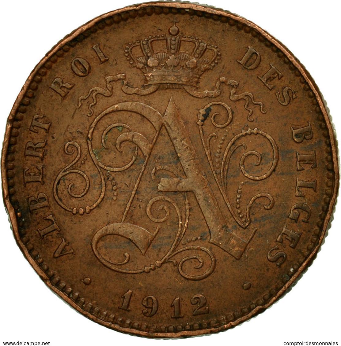 Monnaie, Belgique, Albert I, 2 Centimes, 1912, TTB, Cuivre, KM:64 - 1909-1934: Albert I