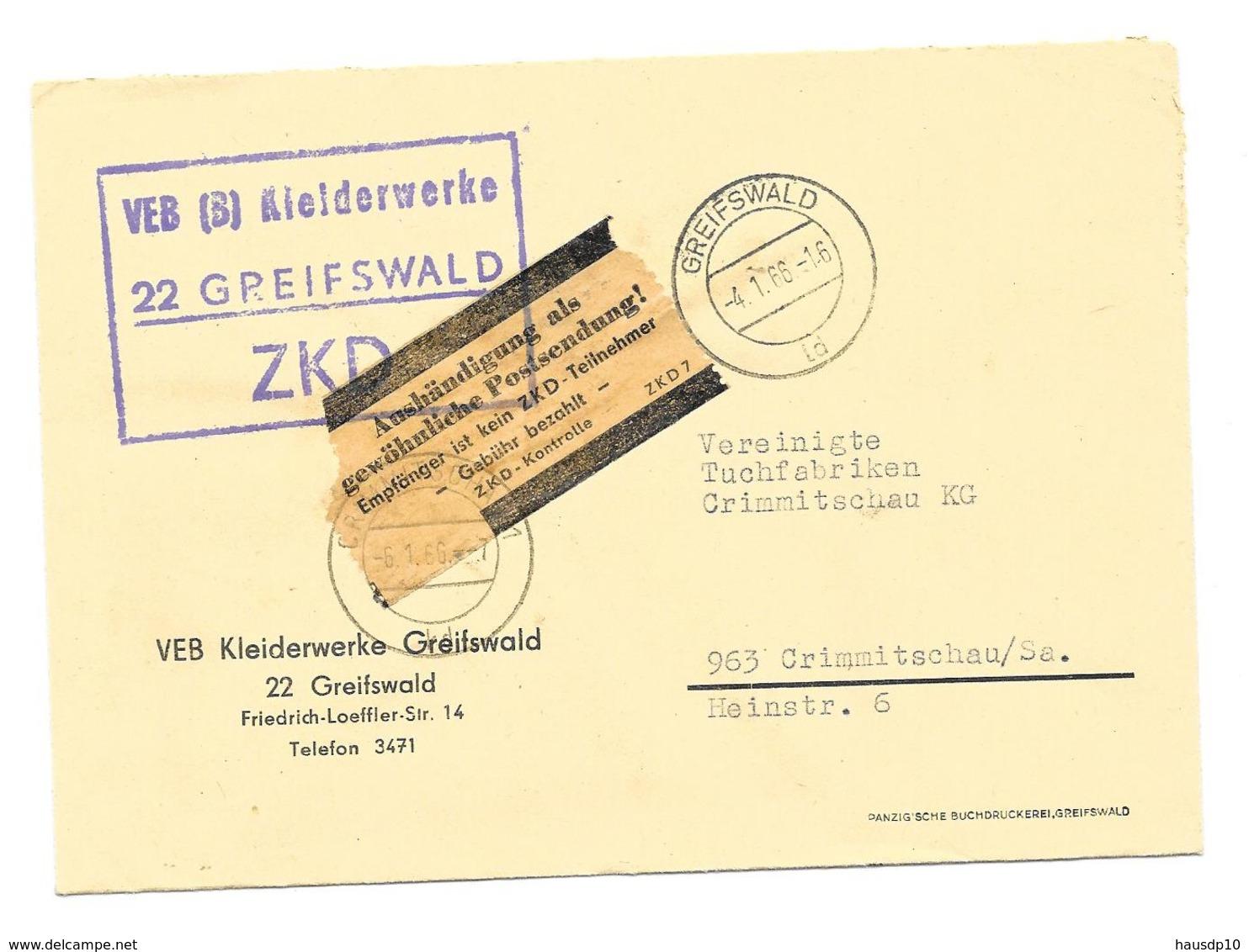 """DDR ZKD Brief + Kontrolle """"Aushändigung Als Gewöhnliche Postsendung, VEB Kleiderwerke Greifwald 1966 - Dienstpost"""