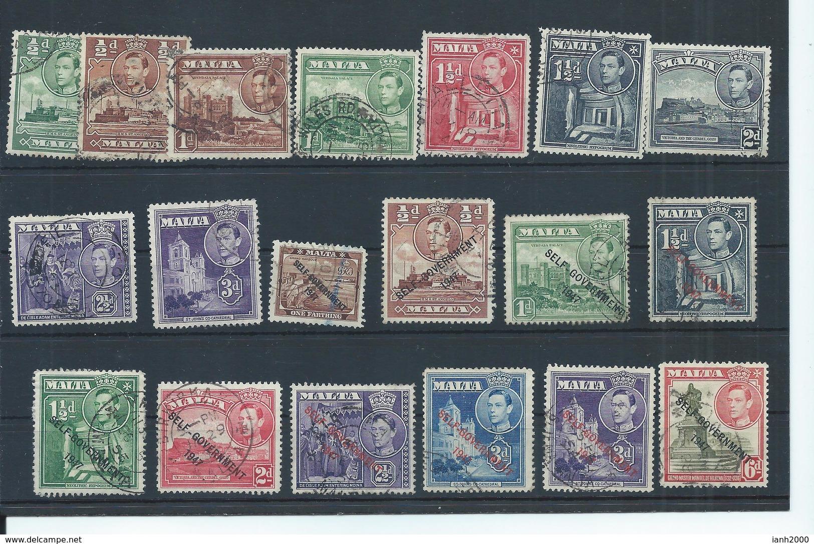 Malta Stamps. George VI Used Lot. (C805) - Malta (...-1964)
