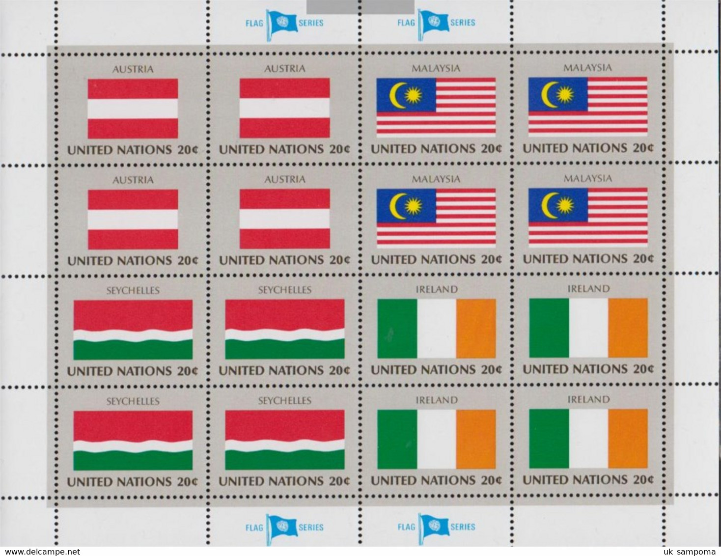 UN - New York 397Klb-412Klb Sheetlet (complete Issue) Unmounted Mint / Never Hinged 1982 UN-Member States - New York – UN Headquarters