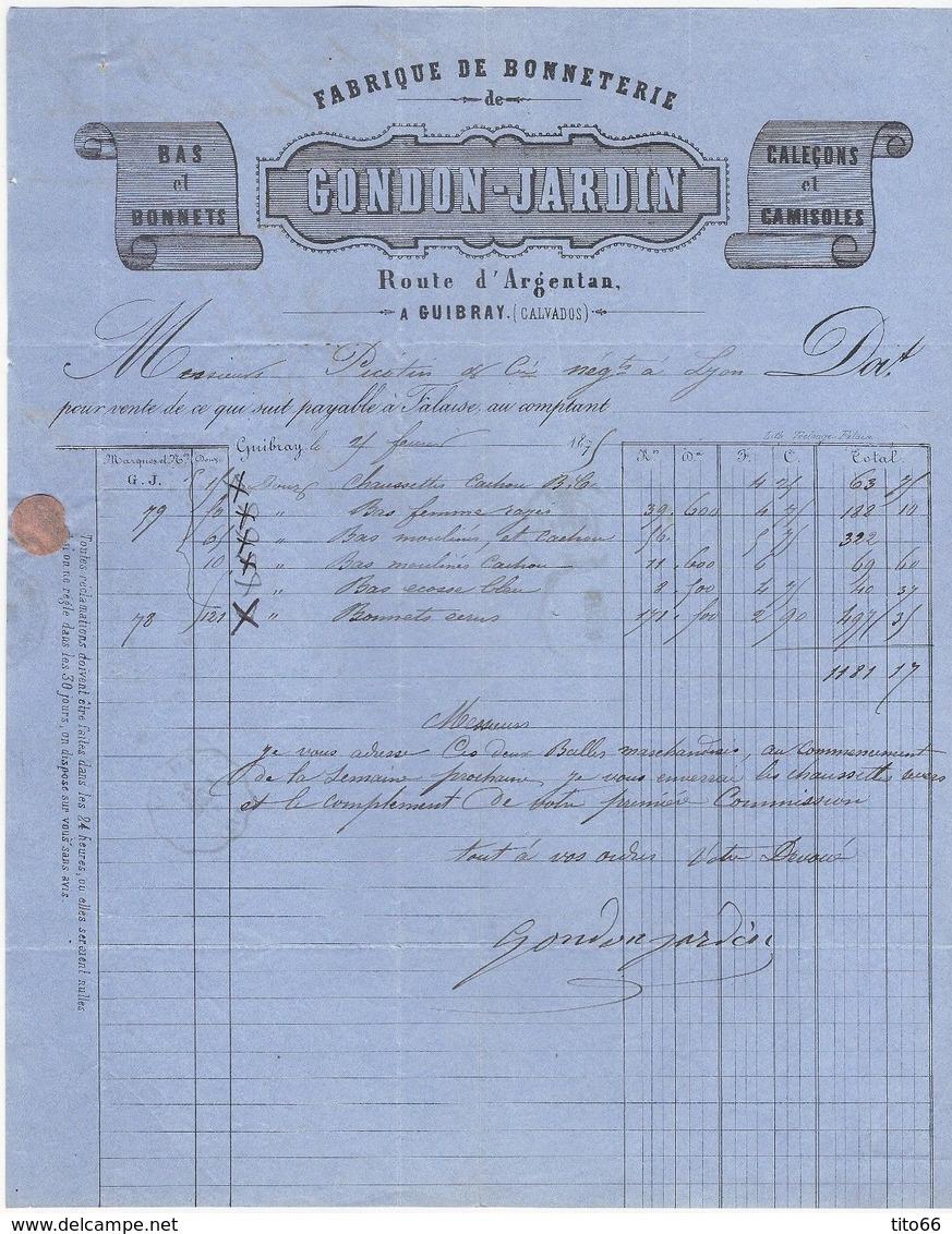 N°60 C Sur Lettre De Guibray TAD CONVOYEUR STATION Falaise Vers Lyon 21 Février 1875 - Postmark Collection (Covers)