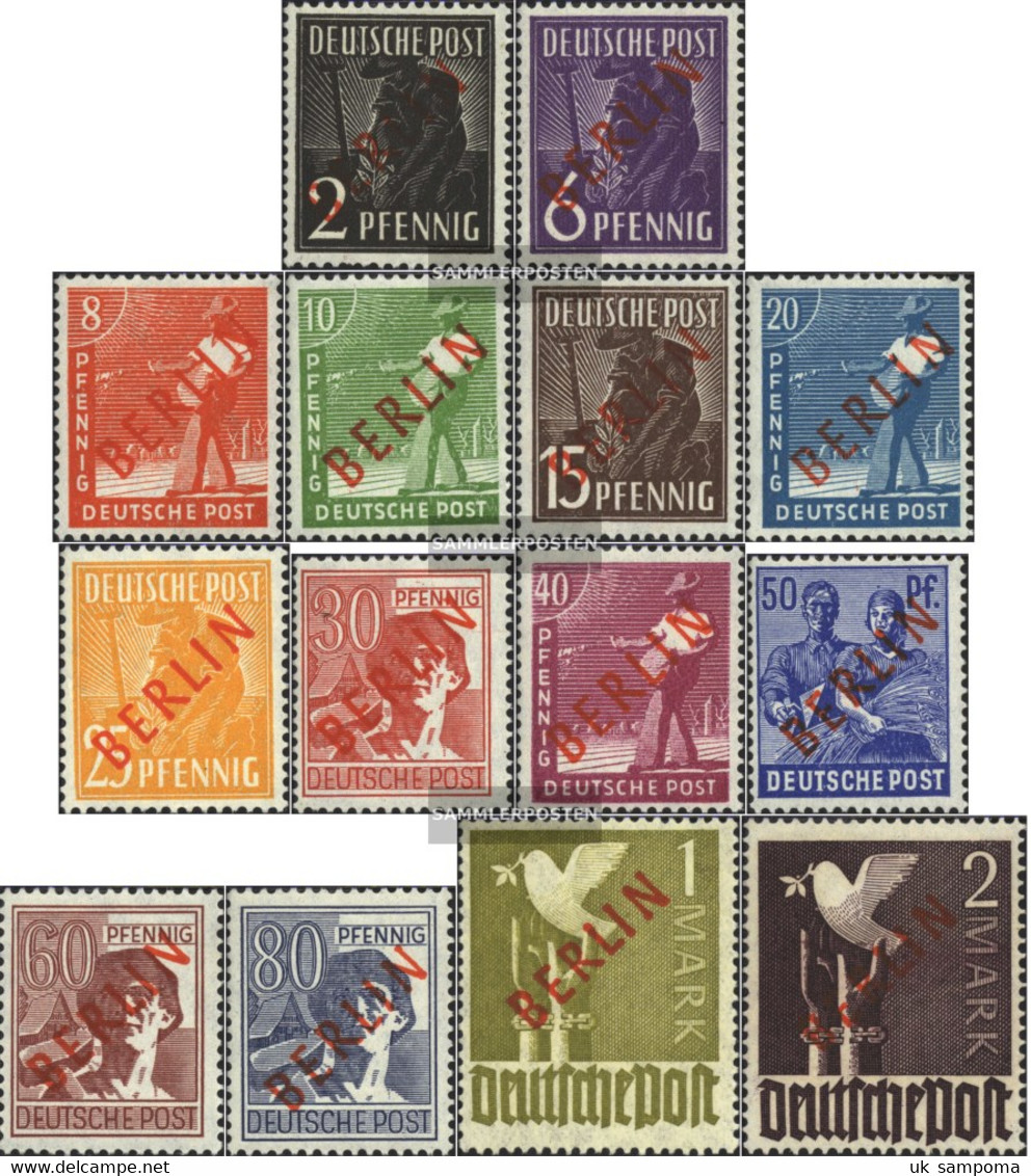 Berlin (West) 21-34 (complete Issue) Tested With Attest Unmounted Mint / Never Hinged 1949 Rotaufdruck - Unused Stamps