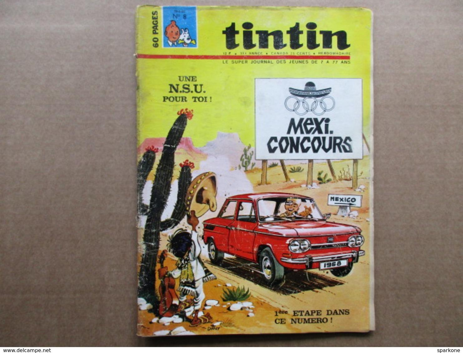 Tintin Le Super Journal Des Jeunes De 7 à 77 Ans  (N° 8 / 1968) 23° Année Édition Belge - Boeken, Tijdschriften, Stripverhalen