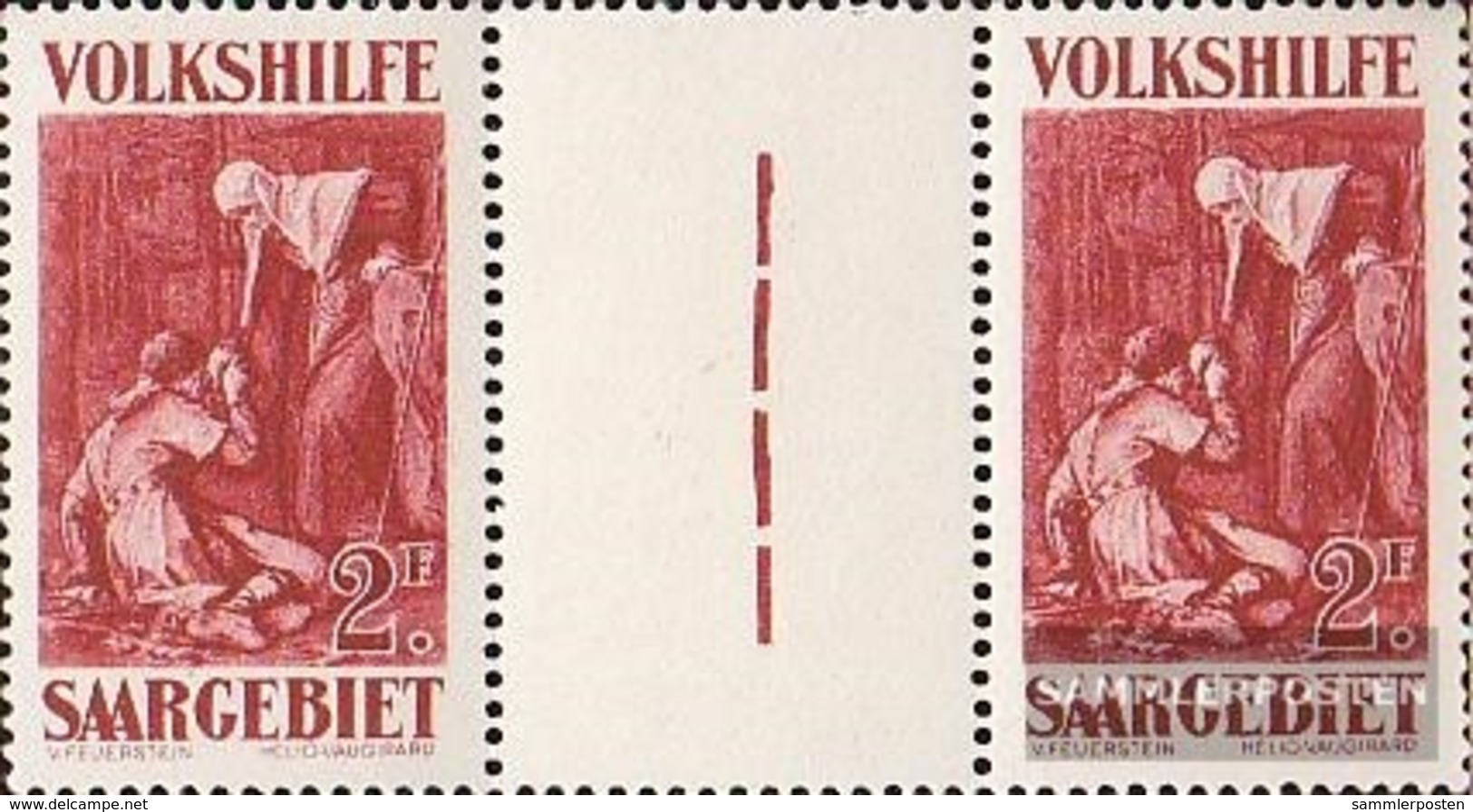 Saarland 139ZW Zwischenstegpaar MNH 1929 People's Aid: Dipinti (II) - 1920-35 League Of Nations
