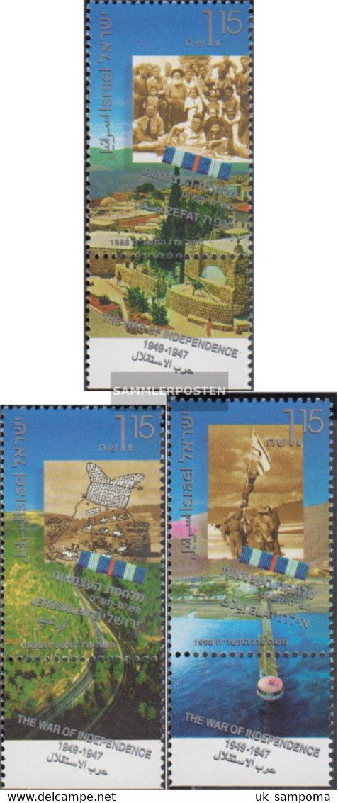 Israel 1452-1454 With Tab (complete Issue) Unmounted Mint / Never Hinged 1998 Revolutionary War - Israel