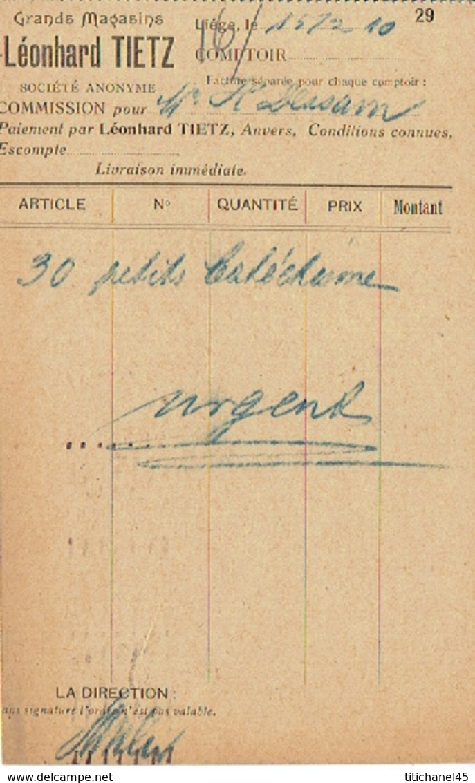 CP Publicitaire LIEGE 1929 - Léonhard TIETZ - Grands Magasins - Liege