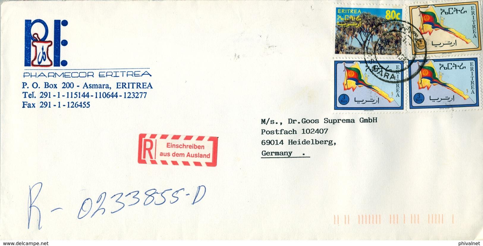 1997 , ERITREA , SOBRE COMERCIAL CERTIFICADO , ASMARA - HEIDELBERG - Eritrea