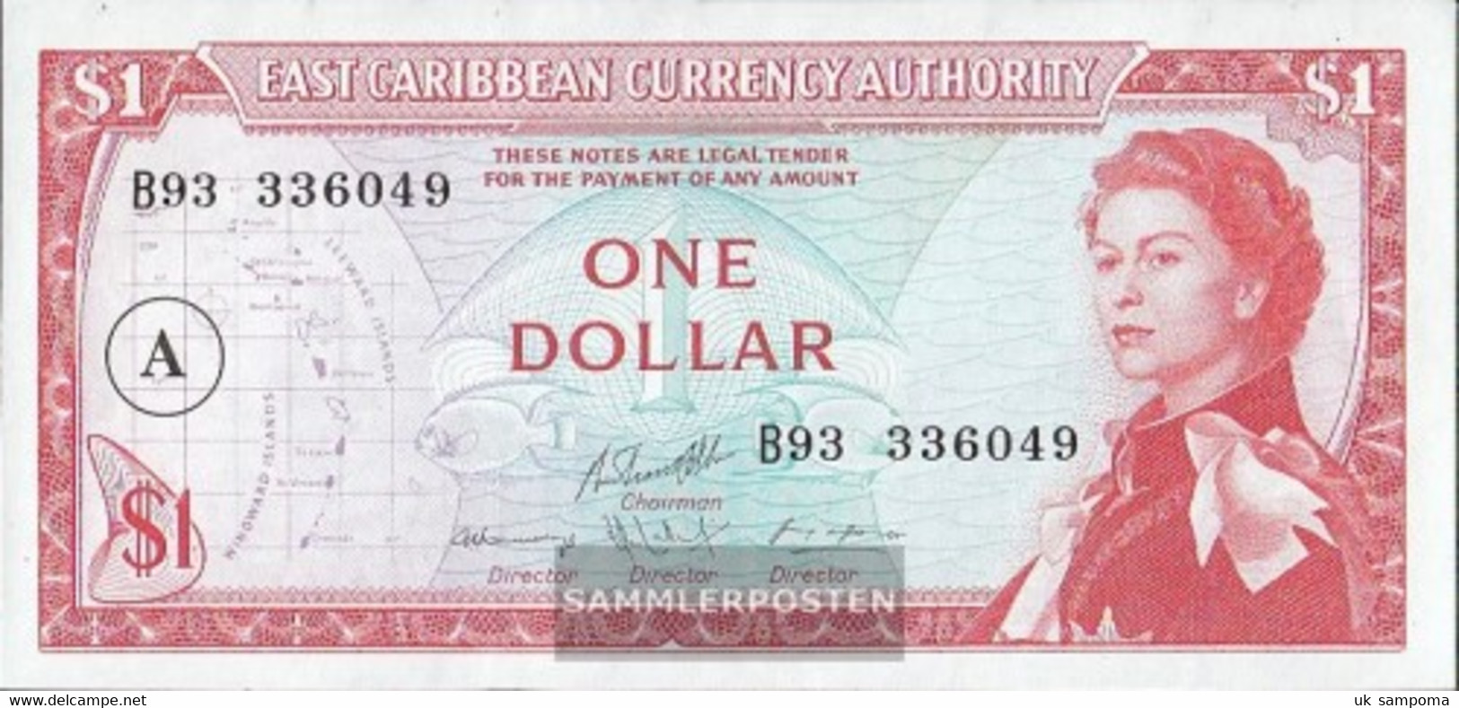 United Caribbean States Pick-number: 13h, Overprint: A Uncirculated 1965 1 US Dollars - Caraïbes Orientales