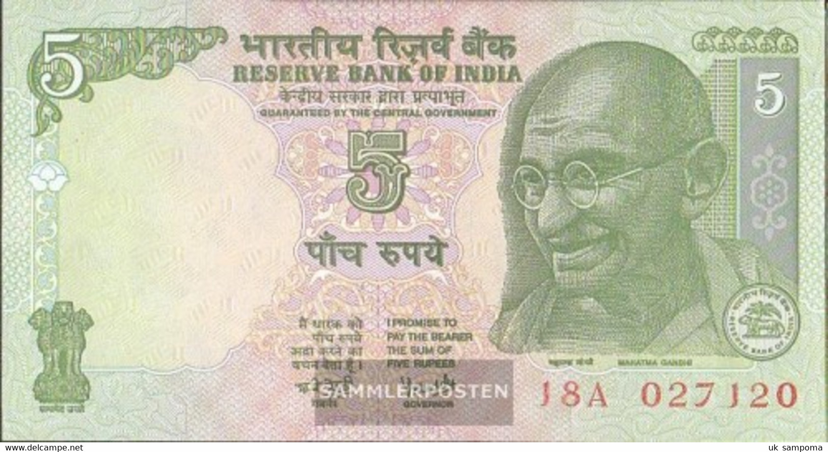 India Pick-number: 88A D Uncirculated 2002 5 Rupees - India