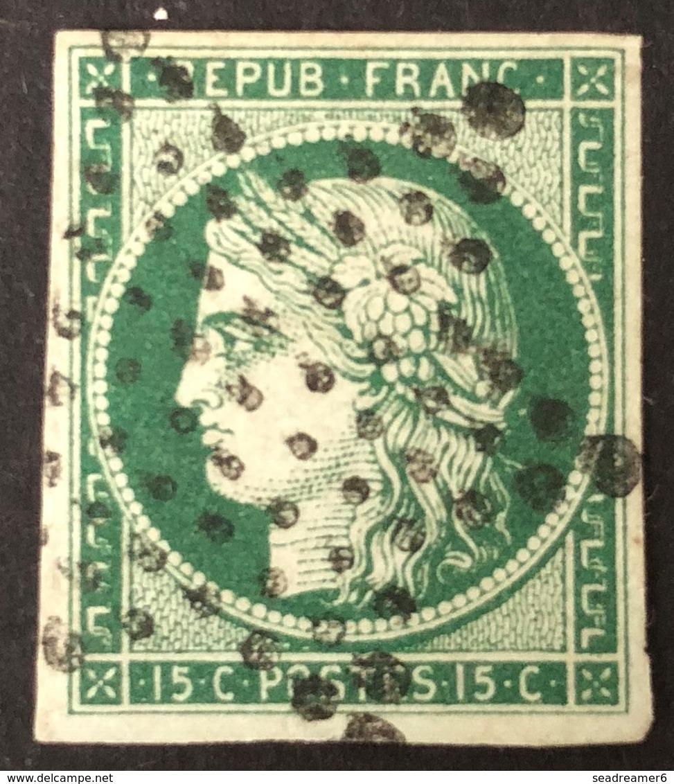 1849 - 1850 Céres N°2 D 15c Vert Très Fonçé Signé Brun En Rouge - 1849-1850 Ceres
