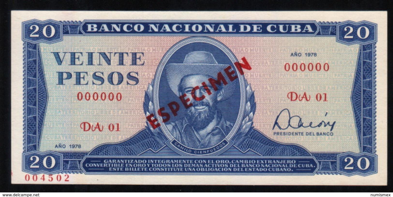 Caribe  / 20 PESOS 1978 SPECIMEN ( MUESTRA ) Serie DA-01 UNC - Cuba