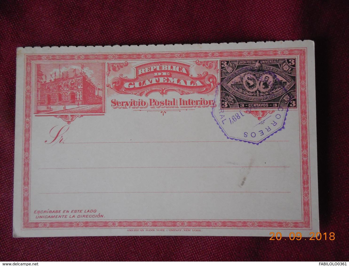 Carte Entier Postal Du Guatemala De 1897 - Guatemala