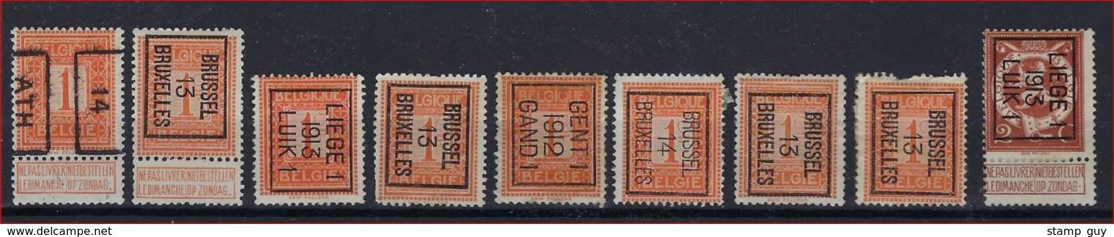 PELLENS 9 Zegels Voorafgestempeld Met O.a. Nrs. 2264 En TYPO Nr. 43 B ; Staat Zie Scan ! Verkoop Aan 15 Euro ! - Typo Precancels 1912-14 (Lion)