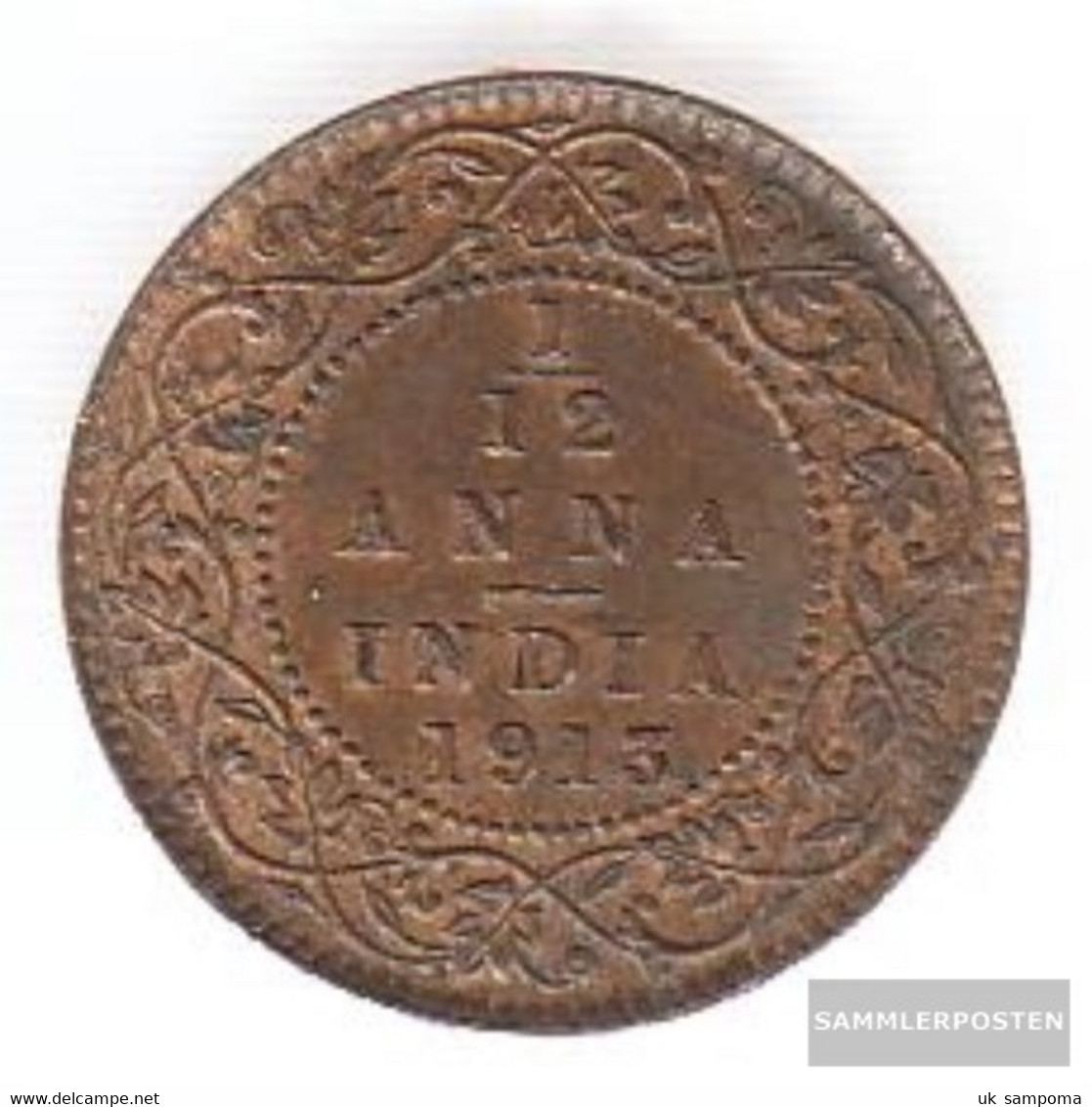 India Km-number. : 509 1927 Very Fine Bronze Very Fine 1927 1/12 Anna George V. - India
