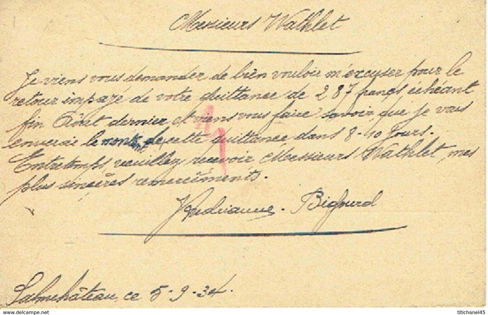 CP Publicitaire1934 J. ANDRIANNE-BIGOURD Confections, Chapeaux, Casquettes, Vins Et Liqueurs à SALMCHATEAU (VIELSALM) - Vielsalm