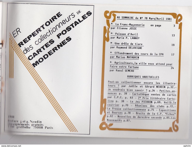 CPC Cartes Postales Et Collections N°78 - La Franc-Maçonnerie - Poisson D'Avril - Cartophilie 1981 - Français