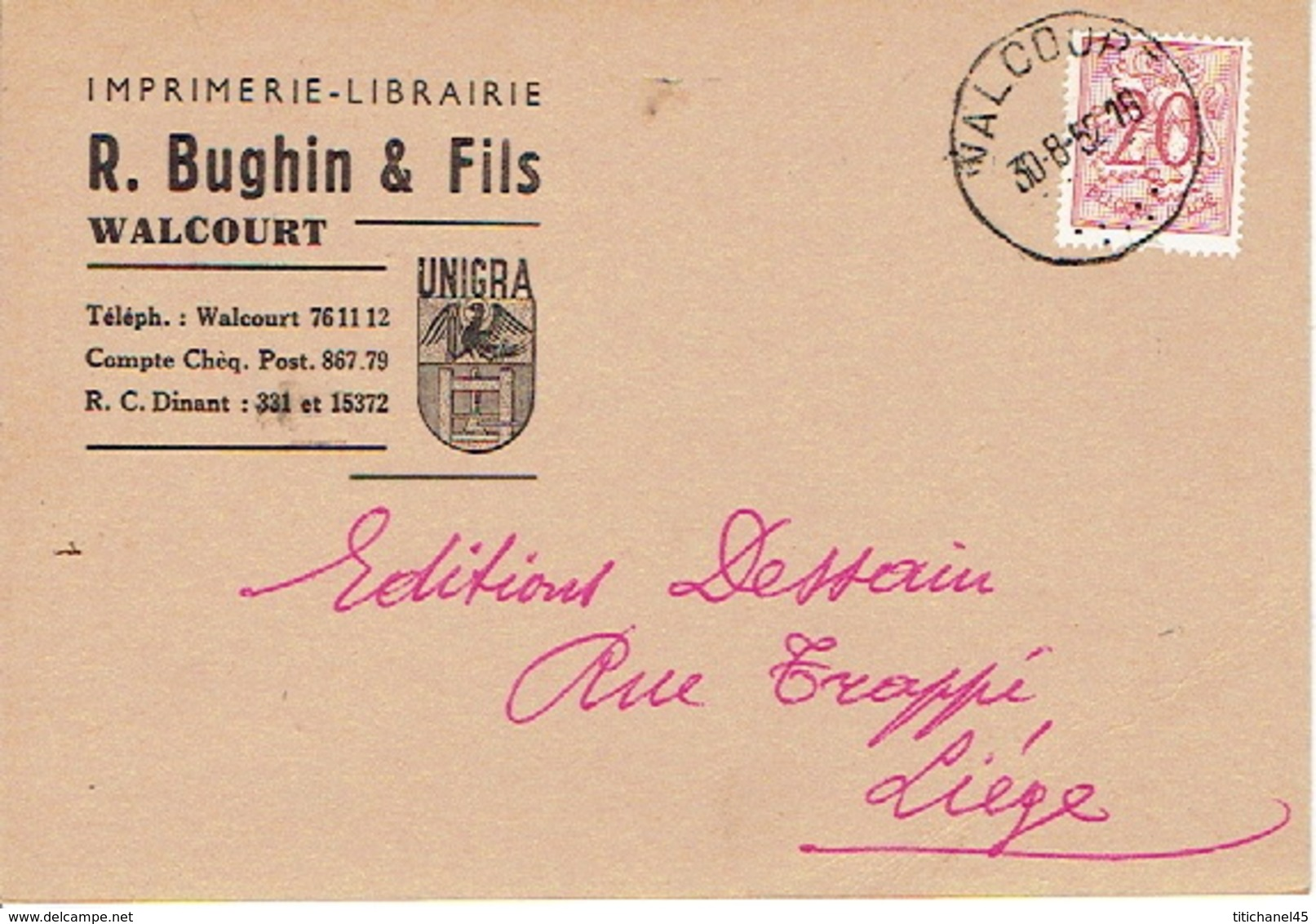 CP Publicitaire WALCOURT 1952 - R. BUGHIN & Fils - Imprimerie - Librairie - Walcourt