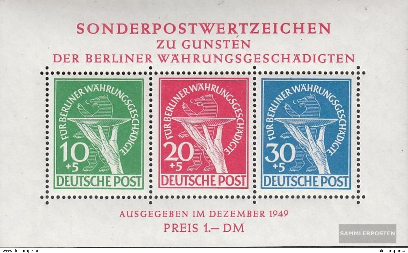 Berlin (West) Block1 Tested (complete Issue) Unmounted Mint / Never Hinged 1949 Währungsgeschädigte - Unused Stamps