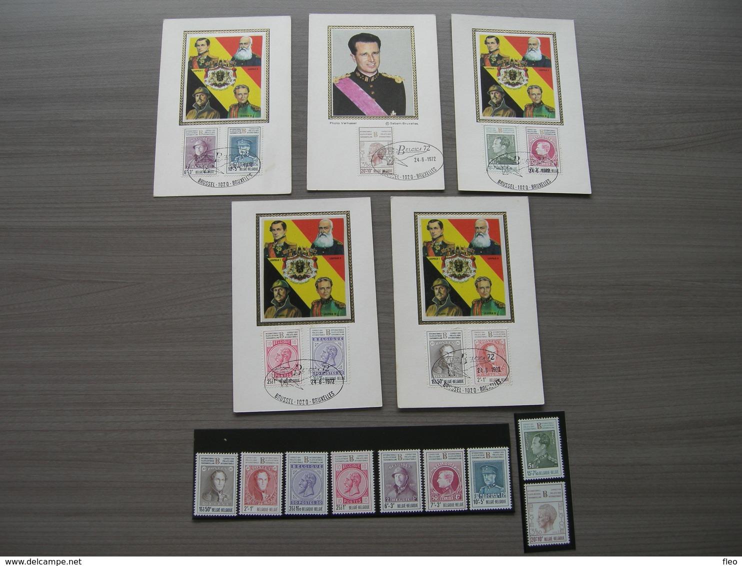 """BELG.1972 1627-1635 ** Plus FDCmaxi Cards Serie  """"Belgica 72 - Tentoonstelling - Koningen Van België/- Exposition - Les - 1971-80"""